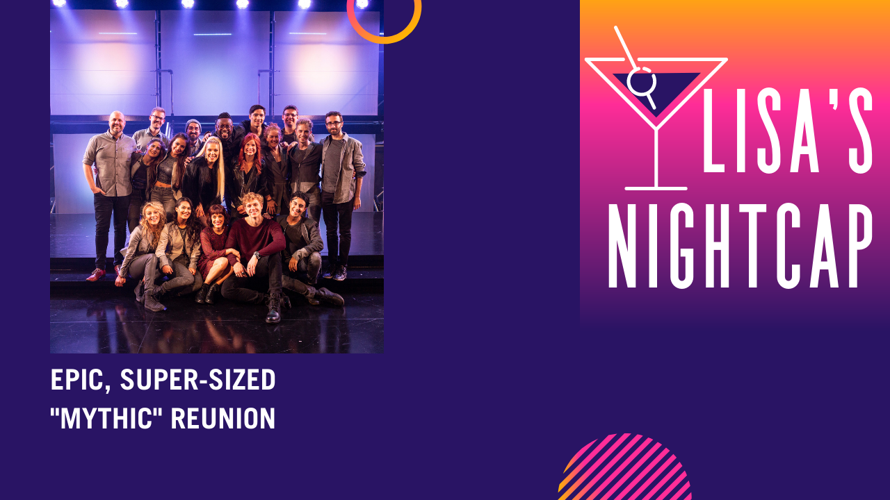 Lisa's Nightcap logo with Mythic cast and crew photo